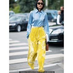 Velvet Wide Leg Pants in Yellow ($44) ❤ liked on Polyvore featuring pants, yellow wide leg pants, high-waist trousers, velvet pants, high waisted loose pants and yellow pants
