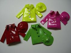 Cute little rain coats and hats from Miniatures by Barb