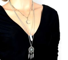 Buy 2016 New Arrival Hot European Fashion Multilayer Long Chain Silver Plated Moon Sweater Pendant Necklace at Wish - Shopping Made Fun Cute Necklace, Opal Necklace, Pendant Necklace, Jewelry Party, Jewelry Necklaces, Turquoise, Crystal Pendant, Hot, Fashion Jewelry