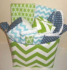 Deluxe Green Chevron Stripe Baby Gift Basket--- Burp Cloth Set of 2, Bib, Changing Pad, Rattle Block, Wash Cloth Set of 4, Fabric Basket
