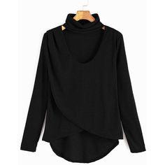 Black Dip Hem Choker Neck Wrap Front T-shirt ($7.99) ❤ liked on Polyvore featuring tops, t-shirts, black, sleeve t shirt, wrap front top, longsleeve t shirts, high neck top and high neck long sleeve top