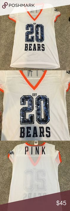 PINK Bears Bling jersey size small PINK Bears Bling jersey size small! Perfect condition. Kinda see through. PINK & VS keep saying they won't carry NFL apparel anymore. PINK Victoria's Secret Tops Tees - Short Sleeve