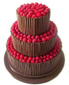 'Chocolate Raspberry Curl' wedding cake : Chocolate fudge cake, Amedei Toscano chocolate buttercream, milk chocolate curls, fresh raspberries.
