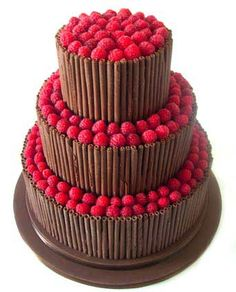 Chocolate Curls Wedding Cake - so simple but effective
