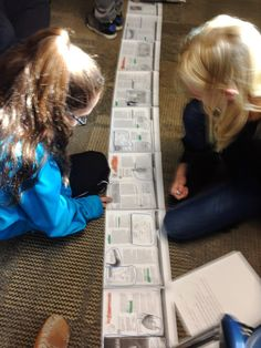 """5th graders doing #textmapping on a #scroll. Because it's visual, """"upside down"""" works just fine! Thanks @suzihesser for sharing these wonderful classroom moments!"""