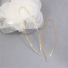 Gold Color Earrings 3 inch 2.5 Square Top 24K Gold Color Sterling Silver Plated Wire Threader Open Hoop Dangle Wedding Bridal Gift Bag 637