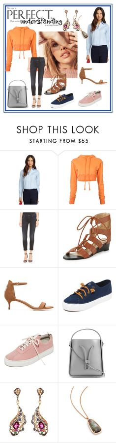 """""""Outfit idea"""" by mkrish ❤ liked on Polyvore featuring Brooks Brothers, Greg Lauren, Mother, Neiman Marcus, Sergio Rossi, Sperry, Grenson, 3.1 Phillip Lim, Wendy Yue and Kendra Scott"""