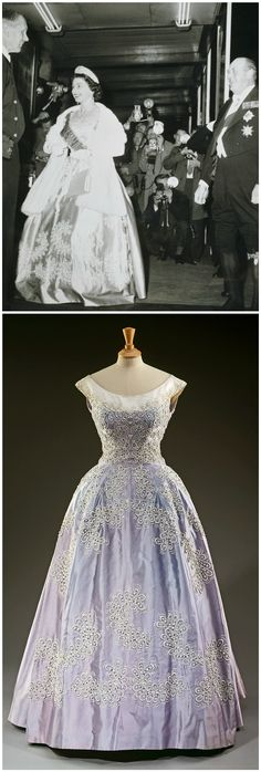 Pale blue silk faille evening gown, by Sir Norman Hartnell. Worn by H.M. Queen Elizabeth II to the Royal Lyceum Theater, Edinburgh, during the State Visit of King Olav of Norway in 1962. Royal Collection Trust/© Her Majesty Queen Elizabeth II 2017.