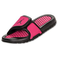 Girls' Preschool Jordan Hydro 2 Slide Sandals| FinishLine.com | Black/Vivid Pink Size 2