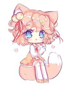 Art trade with WaxSeaShells Hope you like it! Their amazing part : Chibi commission Manga Cute, Cute Anime Chibi, Kawaii Chibi, Cute Anime Pics, Anime Neko, Kawaii Anime Girl, Cute Animal Drawings Kawaii, Cute Drawings, Chibi Girl Drawings