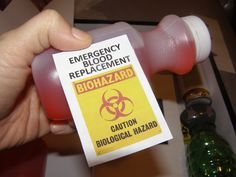 Emergency Blood Supply - Red juice bottle with homemade printed label