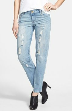 KUT from the Kloth 'Catherine' Distressed Slim Boyfriend Jeans (Sanity) available at #Nordstrom