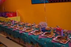 Table in party room at Pump It Up