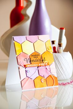 Hexagon Birthday Card - Scrapbook.com - Pretty dimensional card!