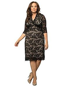 33e49832538 Amazon.com: Kiyonna Women's Plus Size Scalloped Boudoir Lace Dress 1x Black  with Nude