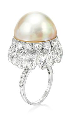 A NATURAL PEARL AND DIAMOND RING, BY VIREN BHAGAT.