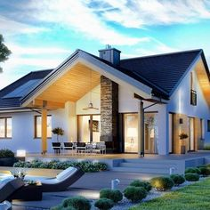 Haus moderne Häuser von Pracownia Projektowa ARCHIPELAG Bringing a Touch of the Orient to Your Back Future House, Modern House Plans, Home Fashion, Exterior Design, Modern Architecture, Modern Farmhouse, Ideal Home, Home And Family, Modern Family House
