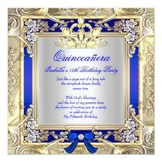 Quinceanera Invitations Princess Quinceanera Gold Royal Blue Silver 2 Card