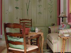 Botanical paintings on the cupboard doors.