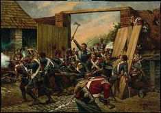 The French Infantry break through the gates of Hougoumont at the Battle of Waterloo 1815