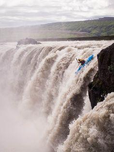 A kayaker descends Selfoss in Iceland. By ThirdCultureKid.
