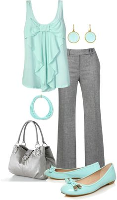 """""""Mint & Gray"""" by lovenorchids on Polyvore, cute for work"""