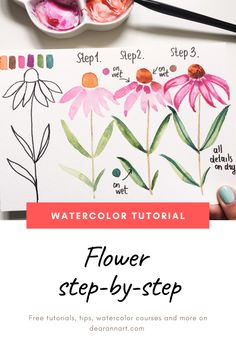 In this watercolor tutorial, you will learn how to paint a flower with watercolor. Click the image or link above to see the full art tutorial. Painting Flowers Tutorial, Easy Flower Painting, Flower Art Drawing, Flower Drawing Tutorials, Paint Flowers, Watercolor Beginner, Watercolor Art Lessons, Watercolor Paintings For Beginners, Watercolour Tutorials