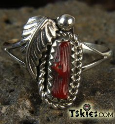 Natural Red Coral Ring