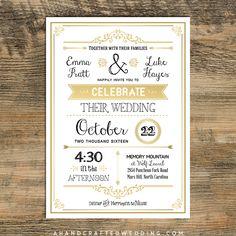 Gold DIY Rustic Chic Wedding Invitation Template | Ahandcraftedwedding.com # Invitations