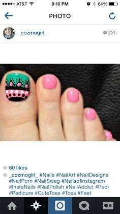 Toe design Cute Toe Nails, Toe Nail Art, Pretty Nails, Cute Nail Art Designs, Toe Nail Designs, Fabulous Nails, Perfect Nails, Hair And Nails, My Nails