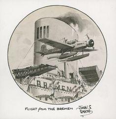 """Momento del lanzamiento de un hidroavión-correo desde la catapulta del buque alemán """"Bremen"""" para acelerar la llegada de la correspondencia a su destino"""