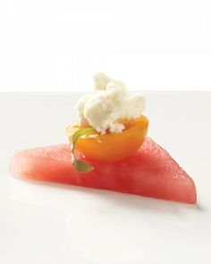 Feta, cilantro, sun gold tomato, and watermelon--the ultimate summer wedding hors d'oeuvres