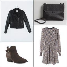 Denim jacket with imitation leather sleeves @bershka ~~ Swallow gird narrow waist pleated chiffon dress @blackfive ~~ Die cut mini bag @pullbear ~~ Fur ankle boot @Merkalcalzados