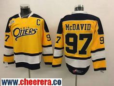 Men's Erie Otters #97 Connor McDavid Yellow Stitched OHL Hockey Jersey