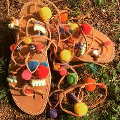Pompons gladiator sandals custom made, pom pons, laceup, tieup #pompons #gladiatorsandals