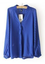Blue V Neck Long Sleeve Pleated Chiffon Blouse $29.68