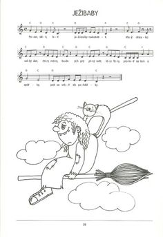 Čarodějnice Song Sheet, Halloween, Kids Songs, Classroom, Teaching, Cartoon, How To Plan, Education, Children