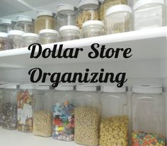 Dollar Store Organizing containers                                 for kitchen, sewing room/craft room & a serious large spicerack