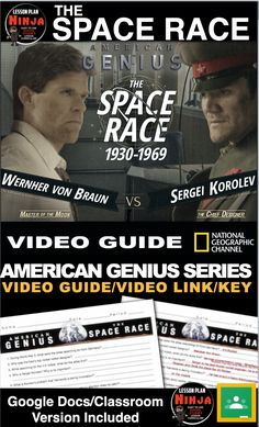 The Space Race Video Guide/Video Link (Cold War) + Distance Learning Version Teaching American History, American History Lessons, World History Lessons, Teaching History, History Lesson Plans, Neil Armstrong, Space Race, Teaching Social Studies, Space Program