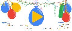 18α γενέθλια της Google 40th Birthday Parties, Happy Birthday, Google Days, Google Birthday, Stick Figure Drawing, Valentine Mini Session, Birthday Cards For Him, Google Doodles, Hawaiian Flowers