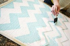 I am so into patterned rugs at the moment - Armadillo & Co have a beautiful designer range out at the moment but for those with an old existing rug at home that needs updating, check out this brilliant DIY idea above!  Just create a simple stencil and paint over the top.  I love that you can choose any colour under the sun by doing it yourself - the possibilities are endless!