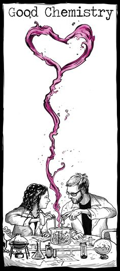 Good Chemistry Custom Illustrated Wedding Invitations by my art school friend Dan Johnson http://www.danielwarrenart.com/
