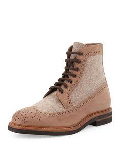 Suede & Felt Lace-Up Hiking Boot, Men's, Size: 44EU/11D, Beige - Brunello Cucinelli