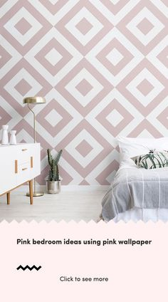 A pink wallpaper mural can have a highly positive impact on your space, creating feelings Pink Bedroom Walls, Pink Bedroom Decor, Pink Bedroom For Girls, Master Bedroom Interior, Pink Bedrooms, Grey And Dusky Pink Bedroom, Wall Paper Bedroom, Pink Wallpaper Murals, Pink Geometric Wallpaper