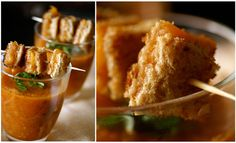 Tomato basil soup + grilled cheese bites