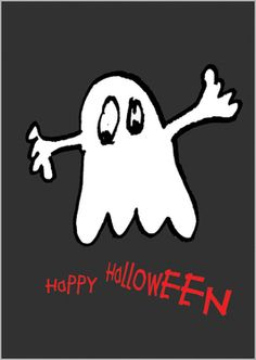 Happy Halloween Grußkarte mit gruslig schönem Gespenst