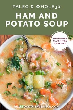 Fodmap Recipes, Paleo Recipes, Real Food Recipes, Soup Recipes, Dinner Recipes, Ham And Potato Soup, Ham And Bean Soup, Dairy Free Soup, Soups