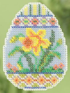 """MH185102 - Daffodil Egg - Seasonal Ornament Spring Bouquet - Kit Includes: Beads, perforated paper, magnet, floss, needles, chart and instructions. (1 of 6 designs). Size: 2.5"""" x 2.5"""""""