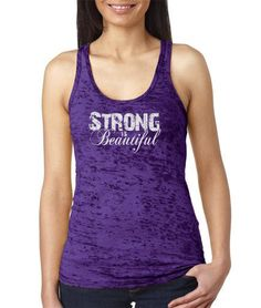 """Fitness burnout tank top womens workout burnout tank with """"Strong Is Beautiful"""" in white. Hand printed on incredibly soft, comfortable racerback terry tank, perfect for training at the gym, running, yoga, cross fit, etc. Fits true to size. Machine wash cold, tumble try low. No bleach.     NOTE: Due to the nature of the burnout process, no two shirts are alike. Variation in the color and/or pattern will be apparent and contributes to the unique properties of the product.    3.7 oz.  65%…"""