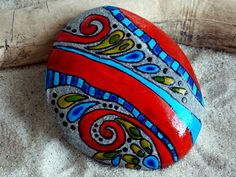 Red Hot Chili/ Painted Rock / Sandi Pike Foundas / Cape Cod Sea Stone